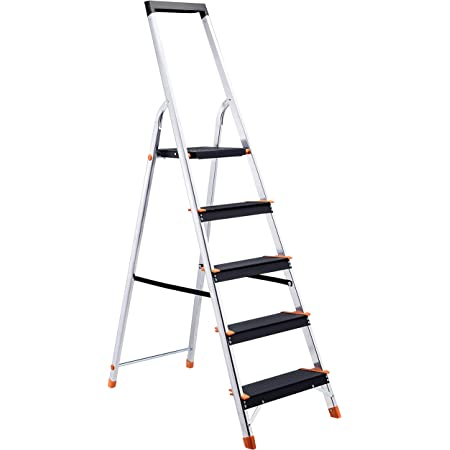 Amazon Basics Folding Step Ladder - 5-Step, Aluminum with Wide Pedal, Silver and Black