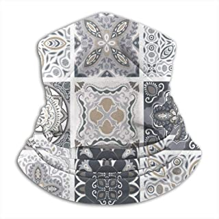 Traditional Ornate Portuguese Decorative Tiles Azulejos Abstract Fleece Neck Warmer Heat Trapping Sun-Proof Neck Gaiter Tube Soft Elastic Balaclava Half Mask Unisex Windproof Ski Neck Gaiter Cover For