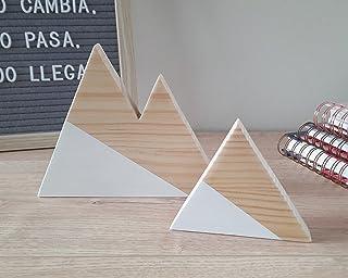 Set di due montagne di legno in pino e bianco