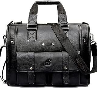 Men's Shoulder Bag, Popoti Leather Handbag for Briefcase Laptop Bag 15 Inch Waterproof Schoolbag Multifunctional Vintage Wallet Messenger Crossbody Bag (39X9X30cm, Black)