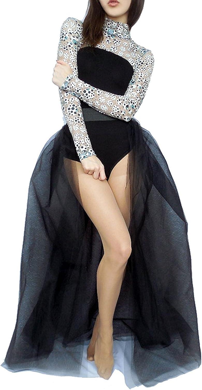Women's Detachable Tulle Skirt Floor Length Wedding Prom Dress Overskirt 4 Layers