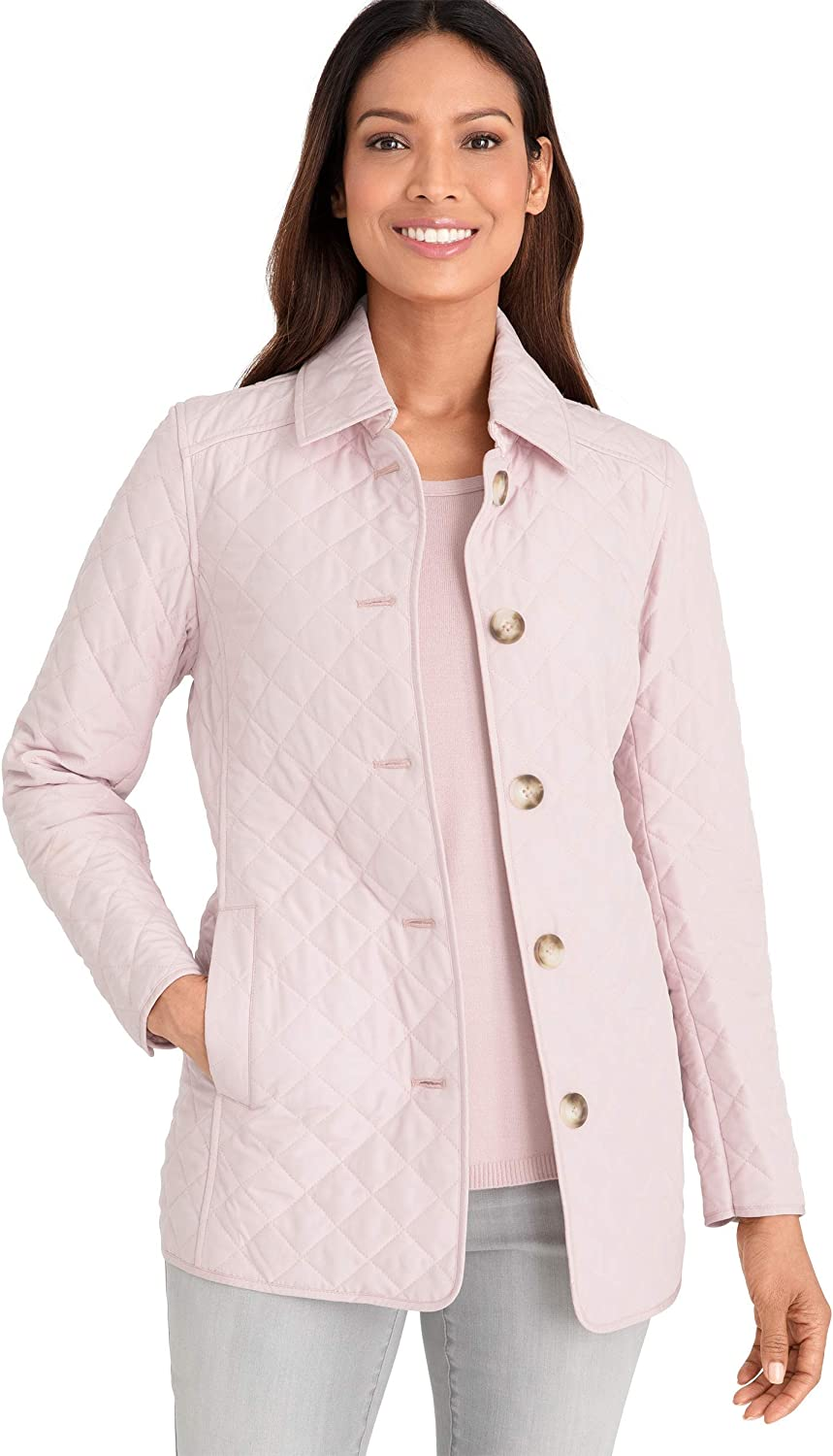 Chico's Women's Quilted Pointed Collar Classic Fit Button-Up Lightweight Jacket