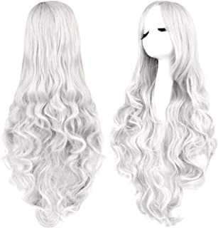 Rbenxia Curly Cosplay Wig Long Hair Heat Resistant Spiral Costume Wigs Anime Fashion Wavy Curly Cosplay Daily Party Silver 32