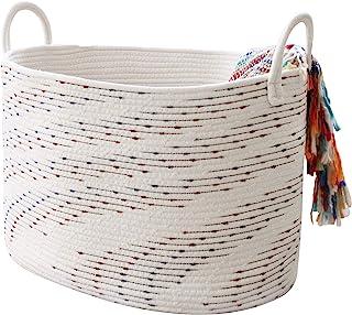 La Jolie Muse Panier de rangement en corde de coton doux pour couverture, jouets, vêtements, paniers décoratifs pour le ra...