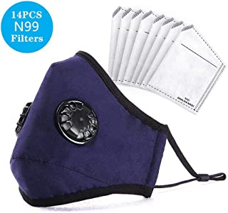 ANALAN Dust Masks Reusable Washable Face Mask Air Masks For Dust Smoke Pollen With N99 Filters (Blue,14pcs Filter)