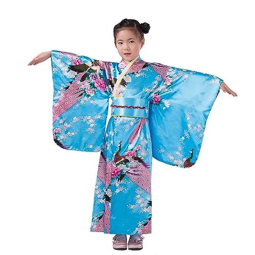 96ddba1683 YueLian Kids Girl Silk Yukata Japanese Traditional Costume Kimono Robe Dress
