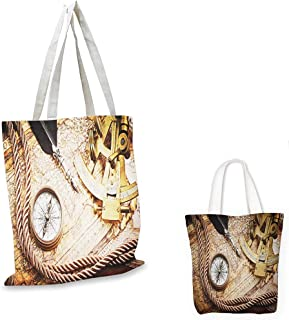 canvas shoulder bag Compass Vintage Navigation Voyage Theme Lifestyle Image with Sextant and Compass Discovery Tools Cream sloth shopping bag