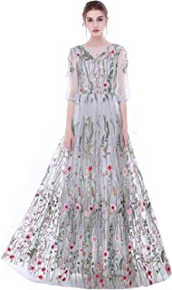 Women's Long Sleeves Embroidery A-Line Evening Dress