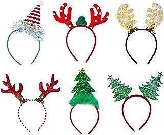 FEE-ZC 6 Headbands for Christmas Headband Xmas Headband Cute Reindeer Antlers Headband Hair Hoop with Ears Headwear Christ...