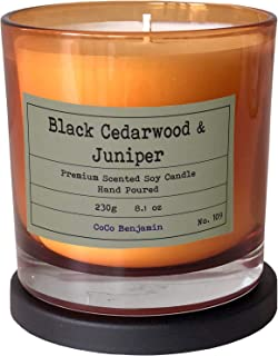 Soy Candle , Highly Scented, Hand Poured, 8.1 oz (Black Cedarwood & Juniper)