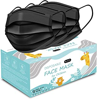 Kids Face Mask, Disposable Kids Masks for Protection Breathable Black Cute Facemasks for Children 50Pcs