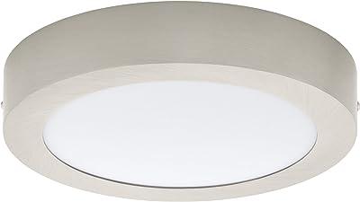 Eglo Plafonnier Led Fueva 1, 1 Ampoule, Matériau : Fonte de Métal, Plastique, Couleur : Nickel Mat, Blanc, Ø : 22,5 cm, Blanc Neutre