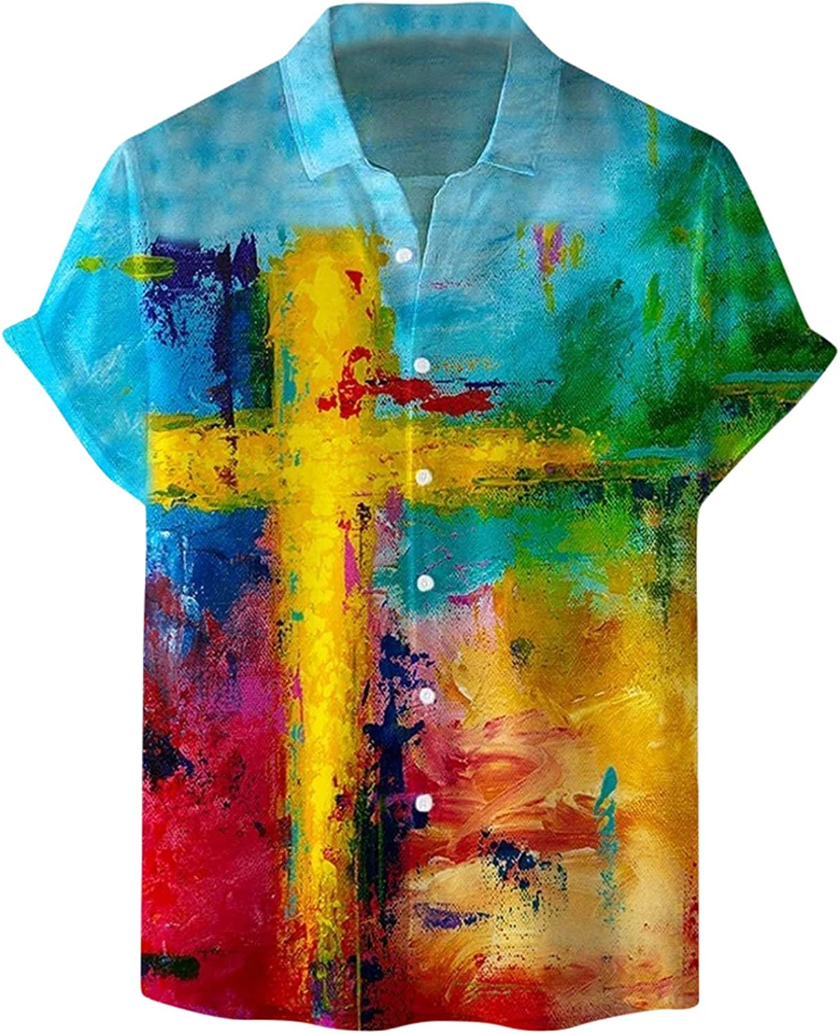 Rapid rise Mens Short Sleeve Ranking TOP8 Button Down Printed Graphic Fashion Top Shirts