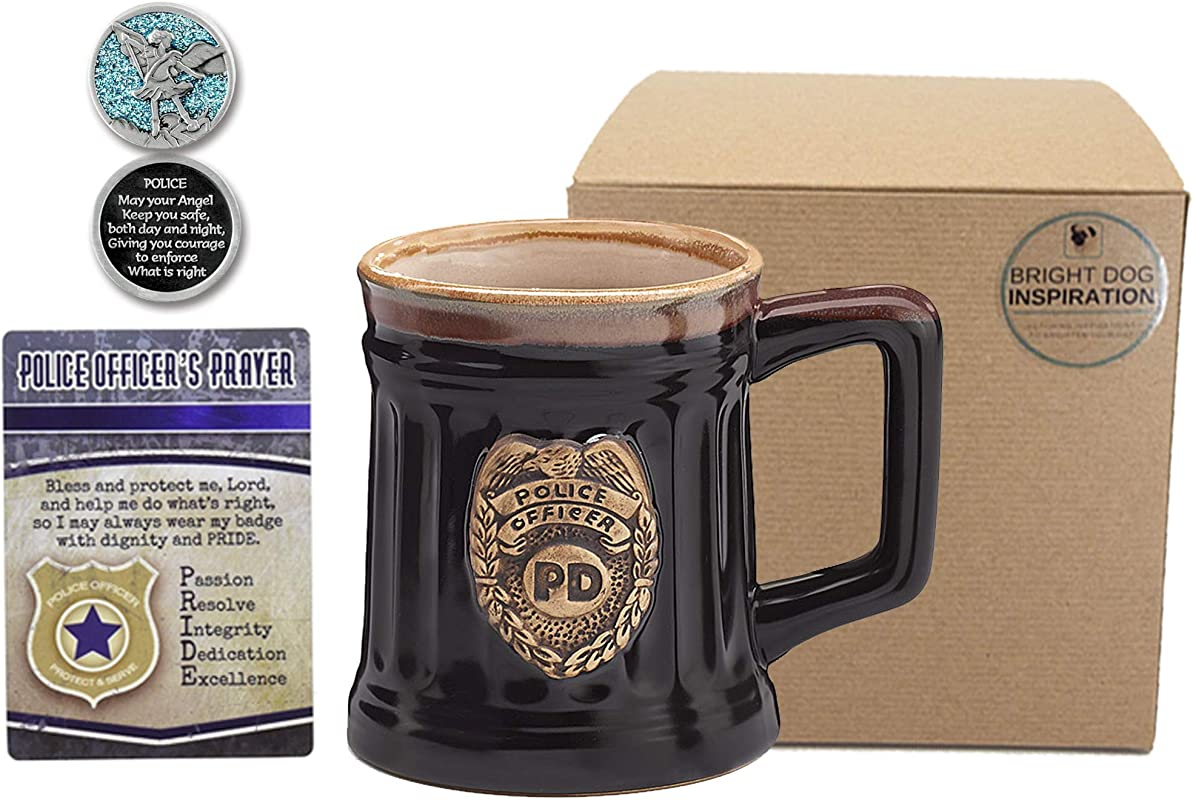 Police Officer Gift For Policeman Policeman Mug Prayer Card And Guardian Angel Pocket Token Inspirational Keepsakes In Bundle Of 3 Items