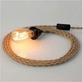 For Farmhouse Home Loft Decoration Retro Lamp Cable DIY,E27 Sockets Hanging Lighting Fixture,Cord Kit with Switch Plug Vin...
