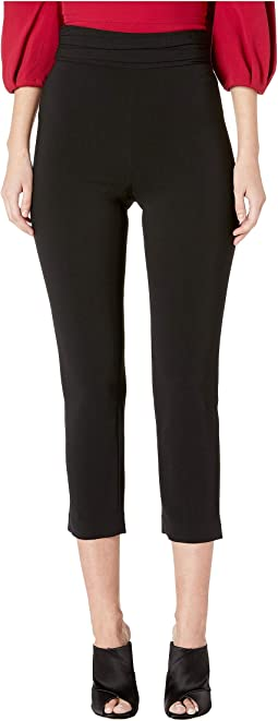 High-Waisted Fitted Pants with Gathered Waistband