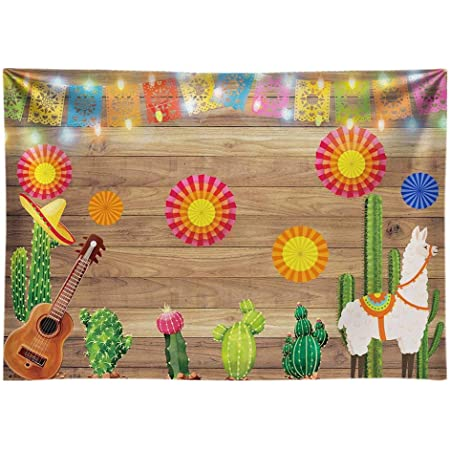 Fiesta 10x15 FT Backdrop Photographers,Mexican Party Pattern Cactus Sombrero Musical Items and a Pinata Inspirations Background for Baby Shower Bridal Wedding Studio Photography Pictures Multicolor