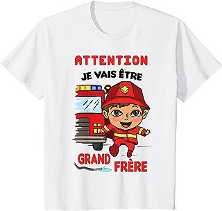 Enfant Je vais être Grand Frère 2022 Annoncer la Grossesse Pompiers T-Shirt