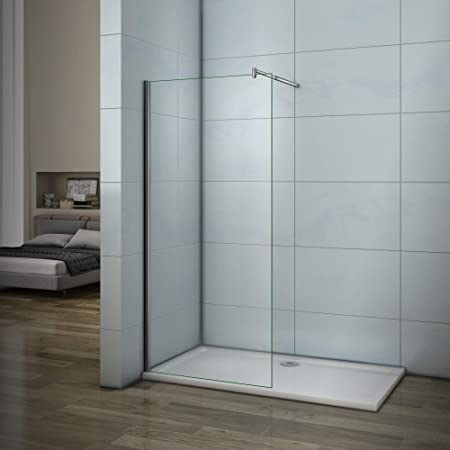 Mamparas de Ducha Frontales Puerta Fijo WALK IN Antical 8mm Cristal Barra 90cm 120x200cm
