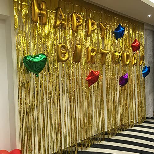 Gold Foil Fringe Curtain For Wedding Birthday And Special Festival Decoration2 Pack 3