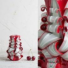Piccola Candela Intagliata a Mano Rosso Bianco per Natale, San Valentino e Compleanno per lei - EveCandles