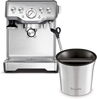 Breville BES840XL Infuser Espresso Machine Bundle with Breville BCB100 Barista-Style Coffee Knock Box - Stainless Steel
