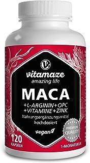 Maca Pura en Cápsulas. Altamente Concentrada con 5000 mg + L-Arginina + Vitamina B6. B12 + OPC + Zinc. 120 Cápsulas