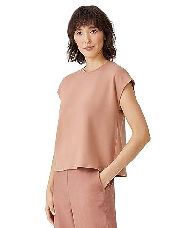 Eileen Fisher Tencel Organic Cotton Fleece Crew Neck Boxy Top