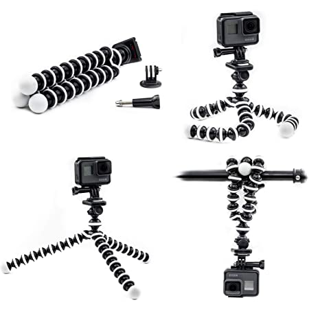 For GoPro HERO 7 White Action Camera Flexible Tripod Gorilla Mount Stand in BLK
