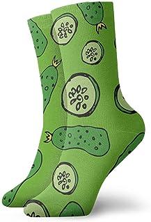 Hombres Mujeres Pepino Verde Casual Calcetines Cortos de Corte bajo Calcetines de Equipo Novedad Calcetines de Tobillo