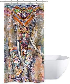 Bohemia Elephant Shower Curtain Set India Animal Hippie Ethnic Boho Bathroom Home Decor Fabric Panel Waterproof Polyester 36x72 Inch with 12 Pack Plastic Shower Hooks