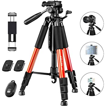 """JOILCAN 66"""" Camera Tripod, Aluminum Lightweight Phone/Tablet Stand 11 lbs Load with Universal Phone/Tablet Mount,2PC Quick Plates for Traveling,Live Streaming, Video Recording(Orange)"""
