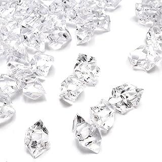 Clear Fake Crushed Ice Rocks, 500 PCS Fake Diamonds Plastic Ice Cubes Acrylic Clear Ice..