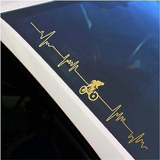 Finest Folia Frontscheibenaufkleber Sticker selbstklebend Aufkleber für Auto Scheibe Frontscheibe Heckscheibe Bike Biker Fahrrad FS108 (Gold Metallic, Außenklebend)