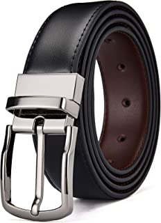 DWTS Men's Belt Adjustable Reversible Genuine Leather Dress Belt for Men with Rotated Buckle Trim to Fit