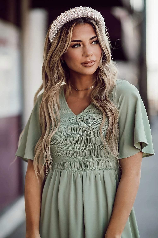 Zattcas Women Short Sleeve Summer V Neck High Low Smocked Maxi Dress