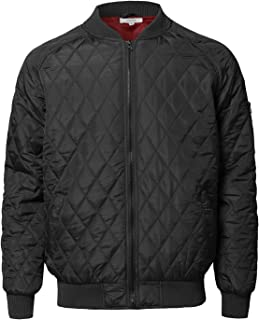 Men's Casual Basic Zipper Closure Long Sleeves Quilted Bomber Jacket