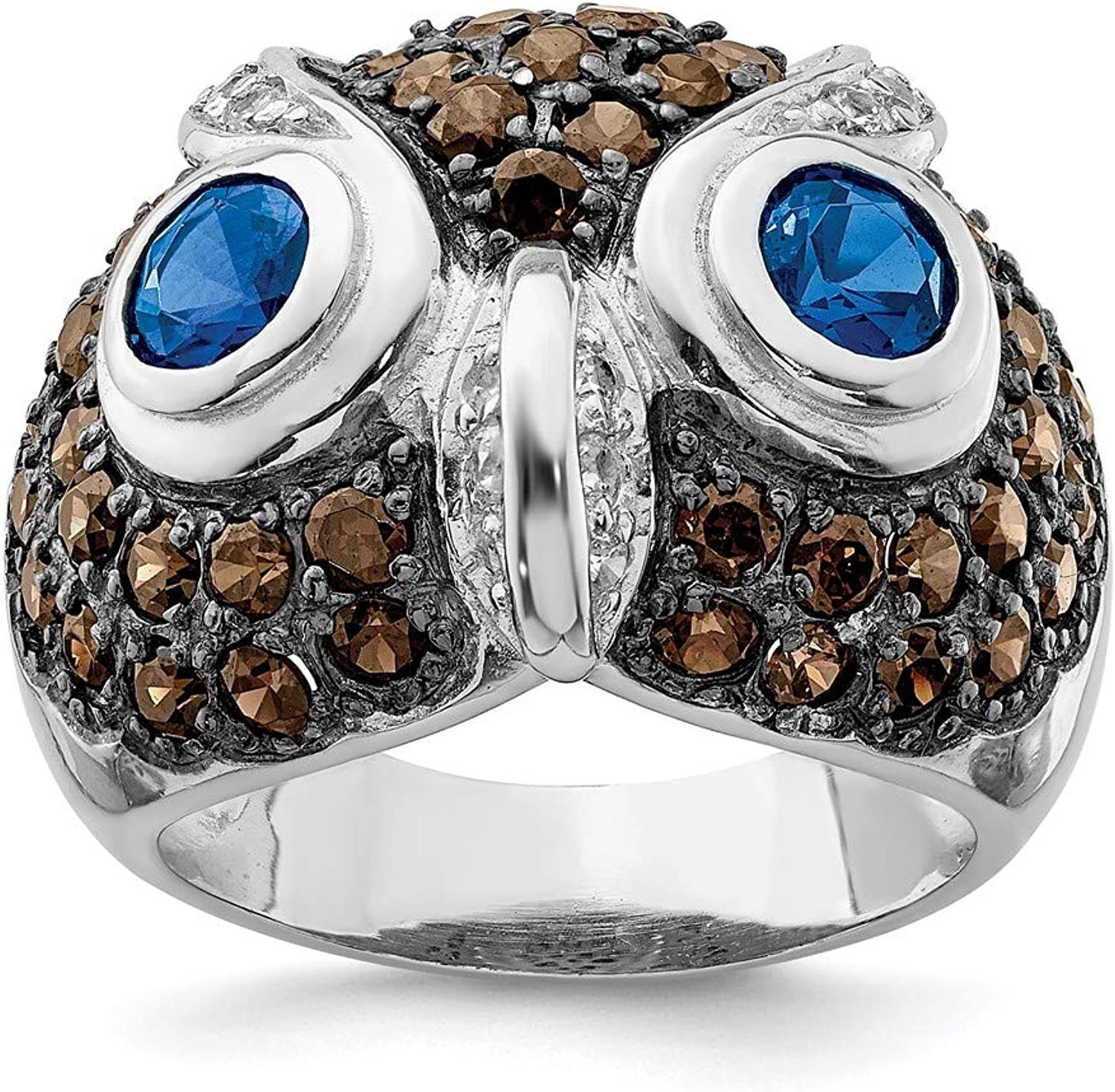 Beautiful Sterling silver 925 sterling Sterling Silver CZ Brown & Clear Owl Ring