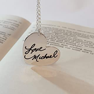 Signature Necklace - Personalized Engraved Heart Jewelry with Your Actual Handwriting, Sterling Silver