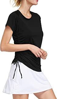 Short Sleeve Tennis Shirts Quick Drying Yoga Tops Active Golf Workout Pullover