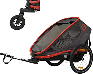 Hamax Outback Reclining Multi-Sport Child Bike Trailer + Stroller (Jogger Wheel Sold Separately) (Red/Charcoal, Two Seats)
