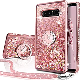 Silverback Glitter case Compatible with Samsung Galaxy Note 8, Girls Women Moving Liquid Holographic Sparkle Glitter Case with Kickstand, Bling Bumper W/Ring Stand Slim for Samsung Galaxy Note 8 -RD