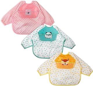 3 Pcs Long Sleeved Bib Set | Baby Waterproof Bibs with Pocket |Toddler Bib with Sleeves