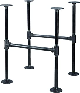 Industrial Pipe Decor Table Leg Set, Rustic End Table Side Table Base Kit, Dark Grey/Black Steel Metal Pipes Vintage Furniture Decorations DIY Coffee Table Legs Mid Century Modern, Double Decker Style