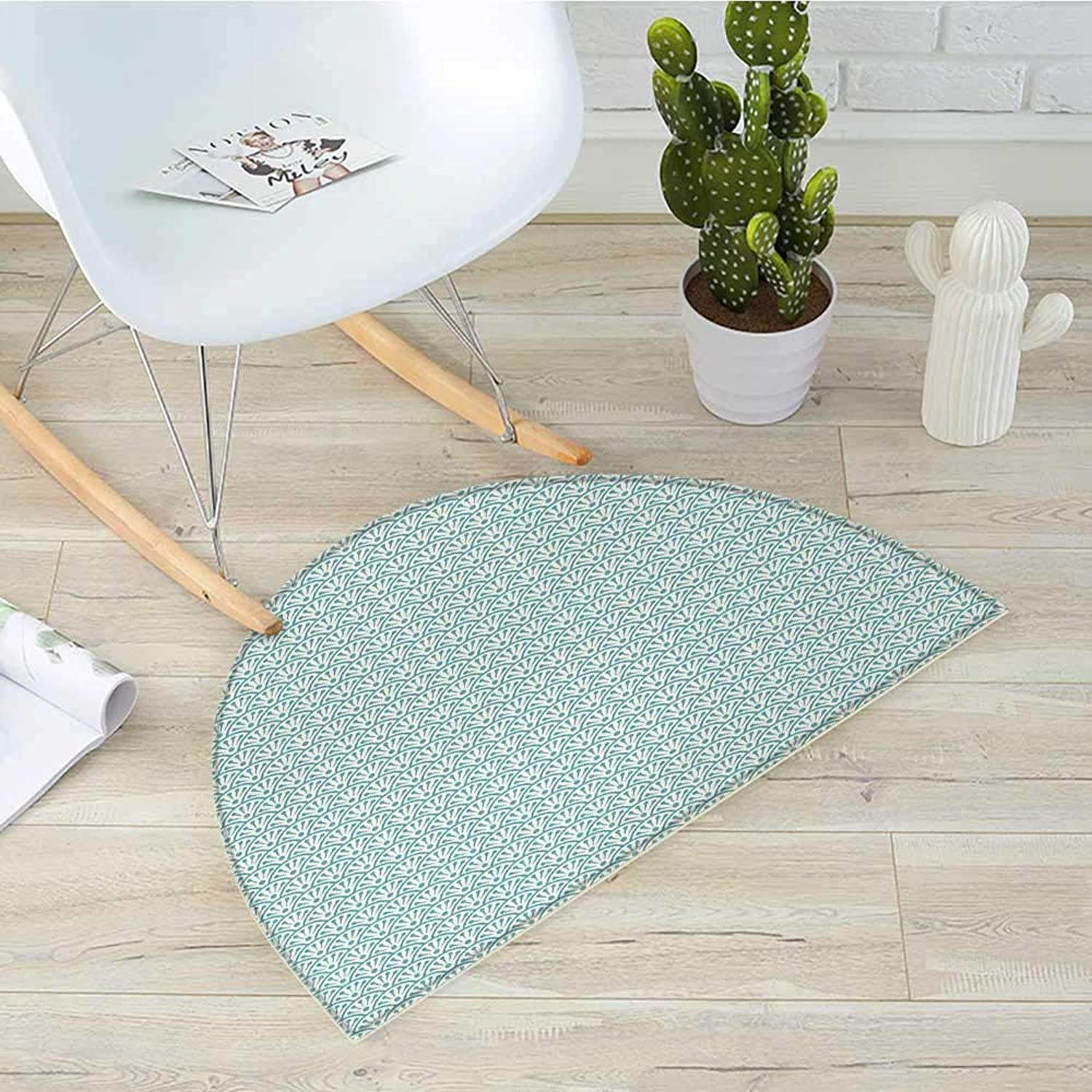 Eastern Semicircle Doormat Traditional Artistic Design Conceptual Artwork Sea Inspired Waves Retro Floral Halfmoon doormats H 31.5  xD 47.2  Sky bluee White