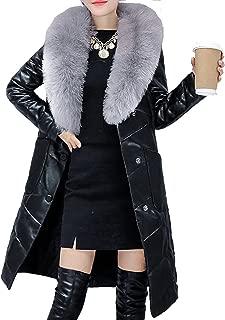 S&S Women's Luxury Leather Coat Rabbit Fur Lapel Collar Long Jacket