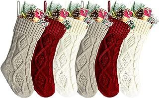 Kunyida 14 Inches Burgundy, Ivory, Khaki Knitted Christmas Stockings,6 Pack