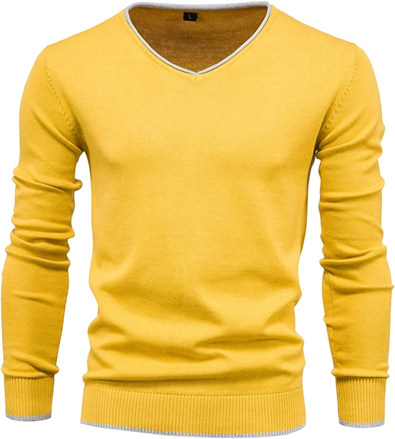 LYMZZY Men Autumn Sweater V-Neck Pullovers Cotton Solid Color Long Sleeve Slim Sweaters Men Navy Knitwear (Color : Yellow, Size : Medium)
