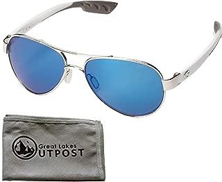 Costa del Mar Loreto Blue Mirror 580P Palladium w/White Temples Frame Sunglasses w/ Cloth