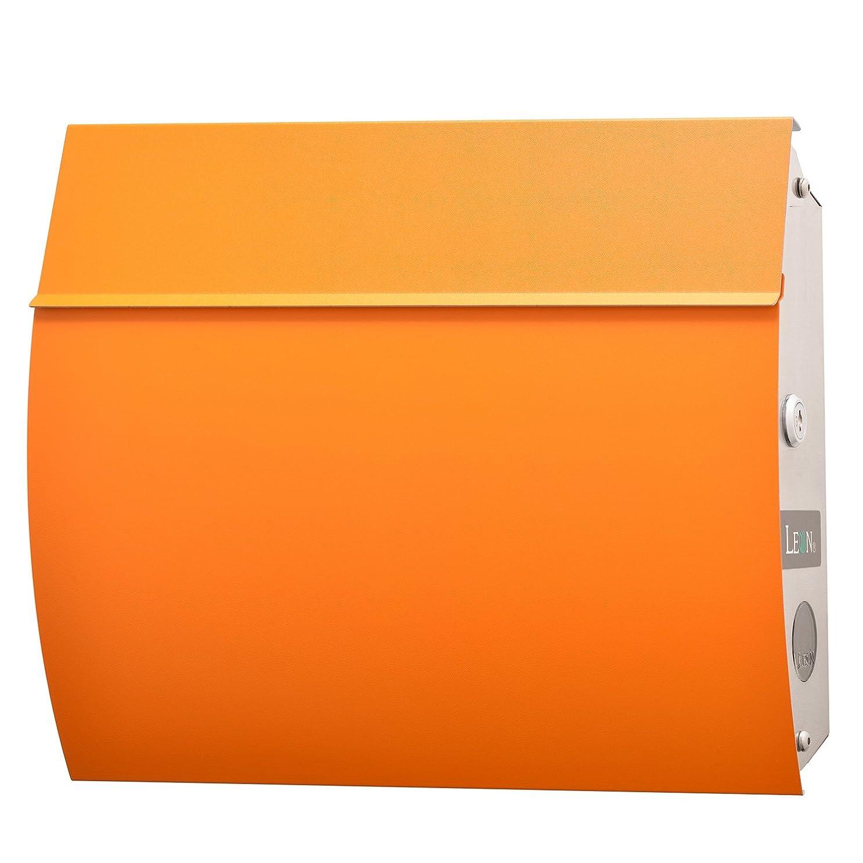 どこか狂う殺人者LEON (レオン) MB4801 郵便ポスト 壁掛けタイプ ステンレス製 鍵付き おしゃれ 大型 ポスト 郵便受け (マグネット付き) (MAIL BOXシート無し) オレンジ